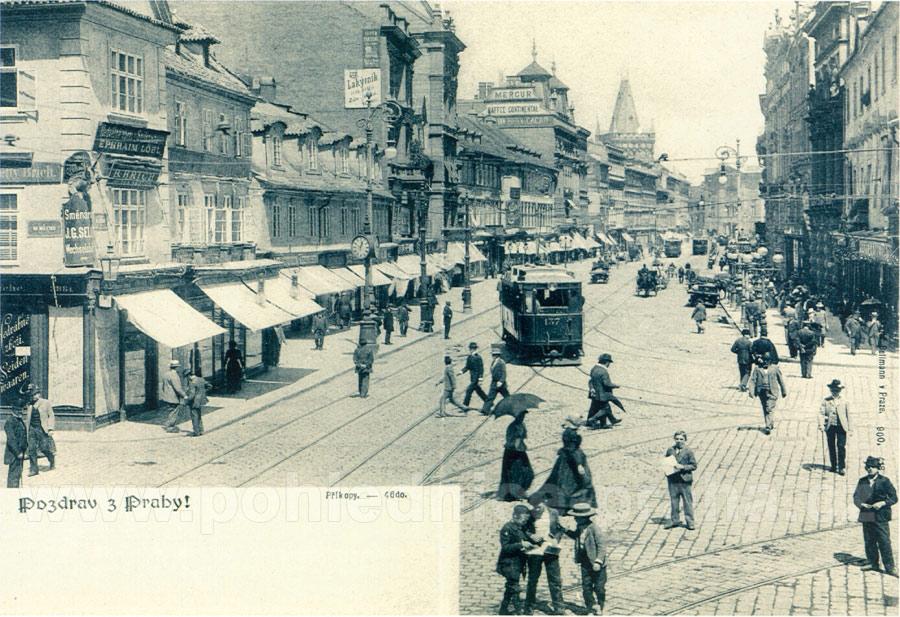 old postcards Prague Na Prikope Street